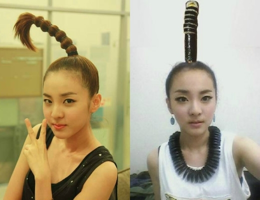 Ngay từ khi ra mắt, Dara (2NE1) đã nhanh chóng gây sốc với kiểu tóc ấn tượng. Khi thì trông giống cây dừa, lúc khác lại như những cuộn kimbab trên đầu.