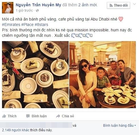 Huyền My khiến fan ghen tị khi khoe ảnh ăn bánh dát vàng tại Dubai. - Tin sao Viet - Tin tuc sao Viet - Scandal sao Viet - Tin tuc cua Sao - Tin cua Sao