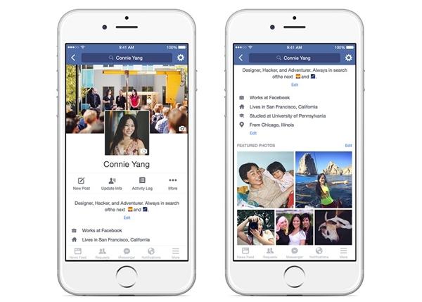 Điểm mới trong giao diện mới được Facebook cập nhật đầu năm 2016. Ảnh: