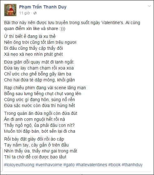 """Thanh Duy thích thú chia sẻ đoạn thơ hài hước đang """"làm mưa làm gió"""" những ngày qua trên mạng xã hội, nói về những đôi tình nhân có thói quen thể hiện một cách quá lố tình cảm nơi công cộng. - Tin sao Viet - Tin tuc sao Viet - Scandal sao Viet - Tin tuc cua Sao - Tin cua Sao"""