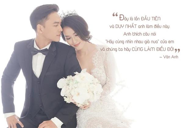 """Trong ngày đám cưới cách đây chưa lâu, Văn Anh đã khiến Tú Vi vô cùng xúc động khi đứng trước hàng trăm khách mời, thổ lộ tình cảm anh dành cho cô. Nam diễn viên đã nói với Tú Vi rằng: """"Đây là lần đầu tiên và duy nhất anh làm điều này. Anh thích câu nói """"Hãy cùng nhìn nhau già nua"""" của em, và chúng ta hãy cùng làm điều đó"""". Văn Anh cho biết câu nói:""""Hãy cùng nhìn nhau già nua"""" được bắt nguồn từ Tú Vi. Đó là câu nói mà nữ diễn viên yêu thích nhất. Nhưng không biết từ bao giờ, Văn Anh đã bị chính câu nói đó thuyết phục và bản thân anh cũng rất yêu thích. Cho nên, nam diễn viên đã quyết định dùng lời nói đó để bày tỏ tình cảm của anh dành cho bà xãtrong ngày cưới của hai người. - Tin sao Viet - Tin tuc sao Viet - Scandal sao Viet - Tin tuc cua Sao - Tin cua Sao"""