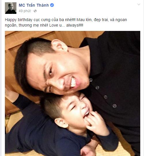 """Trấn Thành xưng """"ba"""" và công khai chúc mừng sinh nhật con trai tình cũ trên trang cá nhân - Tin sao Viet - Tin tuc sao Viet - Scandal sao Viet - Tin tuc cua Sao - Tin cua Sao"""