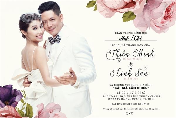 """Tấm thiệp ghi rõ tên """"cô dâu - chú rể""""là Thiên Minh(Bình Minh) và Linh San(Diễm My)'kèm theo ngày giờ cử hành hôn lễ vào lúc 18h ngày 17/02, cũng chính là thời điểm bộ phim ra mắt khán giả. - Tin sao Viet - Tin tuc sao Viet - Scandal sao Viet - Tin tuc cua Sao - Tin cua Sao"""