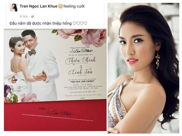 """Lan Khuê bông đùa trên trang facebook cá nhân: """"Đầu năm đã được nhận thiệp hồng"""". - Tin sao Viet - Tin tuc sao Viet - Scandal sao Viet - Tin tuc cua Sao - Tin cua Sao"""