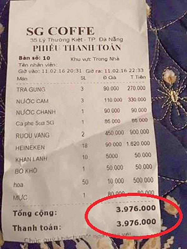 """Hóa đơn thanh toán với mức giá """"trên trời"""". (Ảnh: Internet)"""