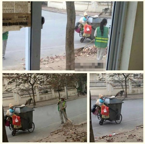 Dân mạng thêm một lần nữa xúc động trước hình ảnh em bé bên xe rác cùng mẹ đi làm. (Ảnh: Internet)
