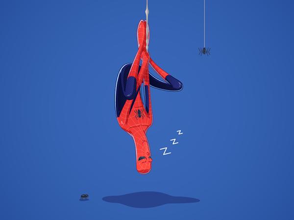 Với khả năng phóng tơ bám vào bất kì đâu, người nhện có thể ngủ bất cứ chỗ nàomà anh ta muốn. Mặc dù tư thế này thì có vẻ rất có hại cho cột sống. (Ảnh: Internet)