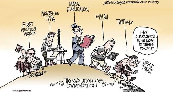 Sự phát triển của truyền thông theo thời gian. Dần dần việc truyền thông sẽ diễn ra chủ yếu trên mạng xã hội, và thường thì thông điệp được truyền đi càng ngắn lại càng có lợi.