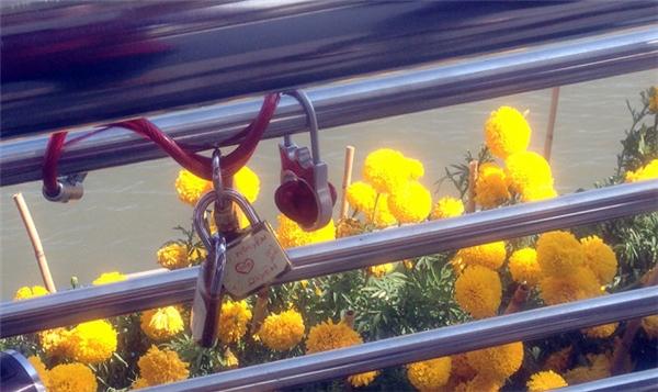 Rất nhiều những ổ khóa đẹp mắt được treo trên cầu.(Ảnh: Internet)