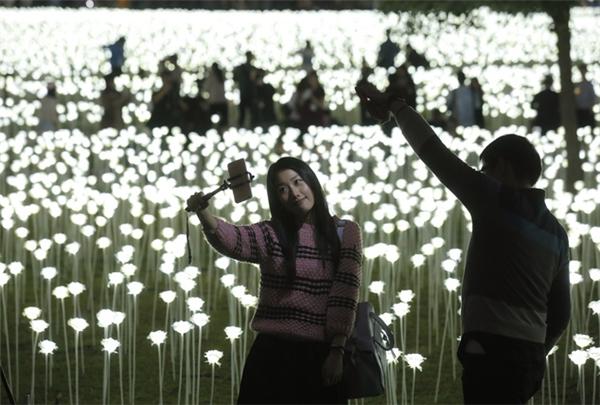 """Vườn hồng này quả là một thiên đường với các... """"thánh tự sướng"""". (Ảnh: AP Hongkong)"""