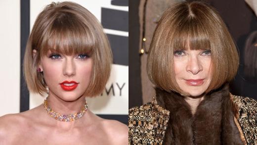 Có người so sánh mái tóc của Taylor với chiếc đầu nấm nổi tiếng củaAnna Wintour.(Ảnh: Getty Images)