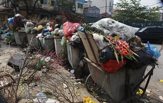 Các tuyến đường thành phố sau Tết vắng người nhưng... ngập những rác. (Ảnh: Dân Việt)