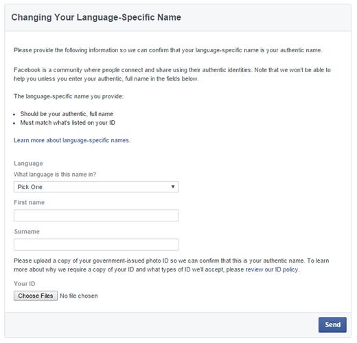 Tính năng này cho phép tên tài khoản Facebook được đổi về ngôn ngữ mẹ đẻ của người dùng. (Ảnh: Internet)