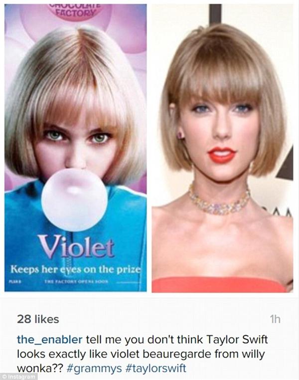Tài khoản này cho rằng kiểu tóc của Taylor y hệt nhân vật Violet Beauregarde. (Ảnh: Internet)