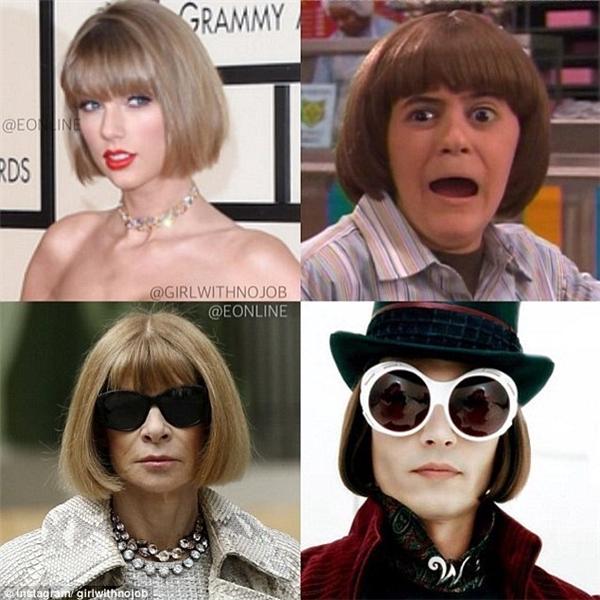Thậm chí, vài người còn tổ chức game lựa chọn hình ảnh. Liệu tóc cùa Taylor giống ai nhất? (Ảnh: Internet)