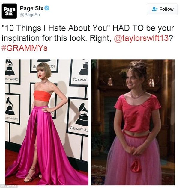 """Có phải trang phục của Taylor lấy cảm hứng từ nhân vật Bianca trong """"10 điều mà tôi ghét ở bạn."""" (Ảnh: Internet)"""
