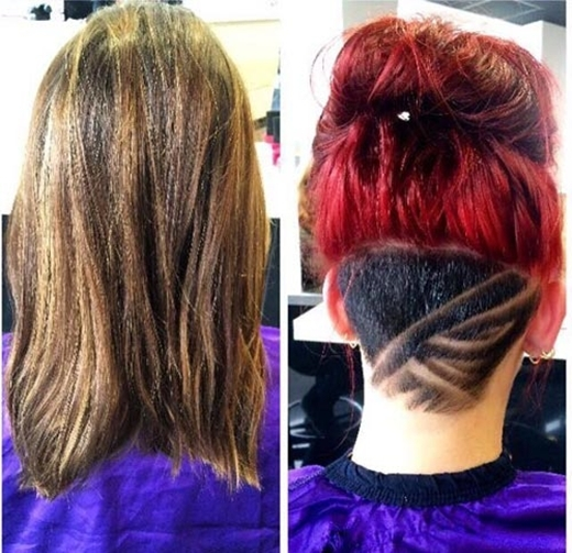 """Với những đường cạo táo bạo, những cô nàng mỗi khi búi tóc cao đều có dịp khoe những """"hình xăm tóc"""" cá tính.(Ảnh: Internet)"""