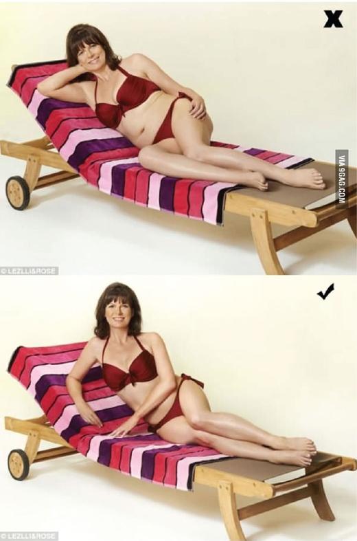 Khi nằm trên ghế, cố gắng dùng khuỷu tay để tạo dáng, khép gối lại, dùng tay còn lại che khuyết điểm