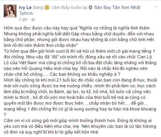 Chia sẻ của Ivy ngay sau khi những bức ảnh được tung lên. (Ảnh: Internet) - Tin sao Viet - Tin tuc sao Viet - Scandal sao Viet - Tin tuc cua Sao - Tin cua Sao