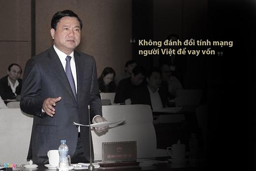 Ông Thăng phát biểu trong cuộc họp với Tổng thầu EPC dự án đường sắt trên cao Cát Linh - Hà Đông (Công ty Hữu hạn Tập đoàn Cục 6 đường sắt Trung Quốc) tháng 1/2015về sự cố sập giàn giáo tại dự án đường sắt trên cao. (Ảnh: Zing.vn)
