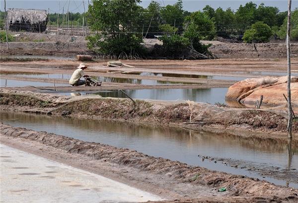 Tuy những ruộng muối ở đây không quy mô như miền Trung nhưng sẽ là một điểm nhấn đáng chú ýnếu bạn ghé Long Sơn tham quan. (Ảnh: Internet)