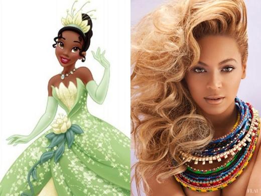"""Nàng """"Ong chúa"""" Beyonce đã từng được mời lồng tiếng cho vị công chúa da màu đầu tiên trong lịch sử Disney. Tuy nhiên, nữ ca sĩ nóng bỏng này đã từ chối và nhường cơ hộicho Anika Noni Rose. Sau đó, vào năm 2011, Rose đã được ghi danh vào Disney Legends. Ngoài ra, nữ ca sĩ Alicia Keys từng 3 lần thử giọng Tiana nhưng lại không được chọn."""