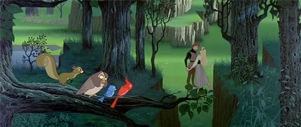 """Trong """"Công chúa ngủ trong rừng"""", cảnh công chúa Aurora lần đầu tiên gặp gỡ hoàng tử Philip trong rừng xứng đáng là 1 trong những phân đoạn lãng mạn nhất trong các phim của Disney. Những chi tiết như khi hoàng tử Philip có chút """"mặt dày"""" khi cố gắng làm quen với công chúa Aurora hay khoảnh khắc hai người nhìn nhau say đắm khi cùng khiêu vũ dưới nền nhạc """"Once upon a dream"""" đã khiến các khán giả vô cùng thích thú."""
