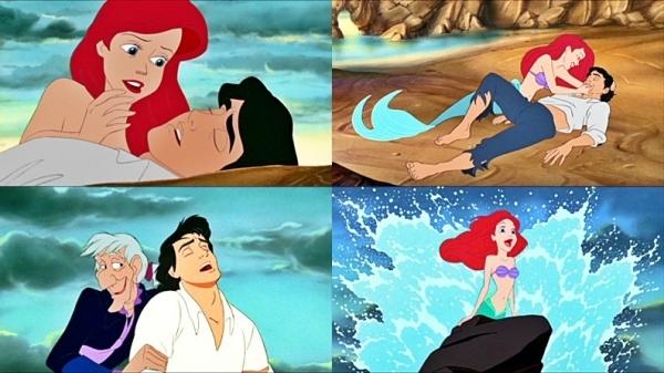 """Khoảnh khắc sau khi nàng tiên cá Ariel cứu thoát chết, hoàng tử Eric từ từ tỉnh dậy và nắm lấy tay cô gái trong mộng cũng là một trong những phân cảnh không thể bỏ qua của bộ phim hoạt hình """"Nàng tiên cá"""". Chính ánh mắt đắm đuối của hoàng tử lúc này đã không chỉ khiến Ariel bị mê hoặc mà còn khiến không ít các khán giả nữ bị """"đổ gục""""."""