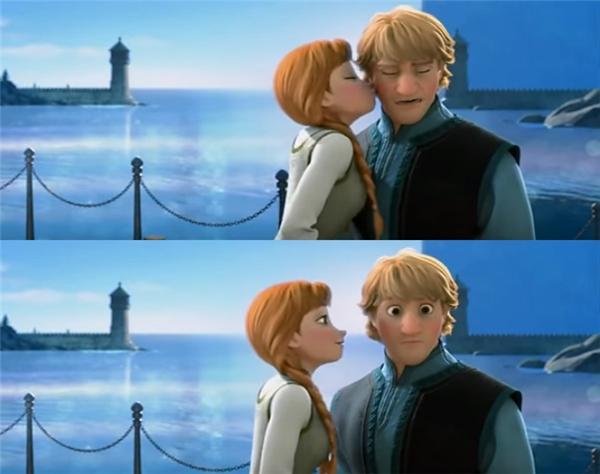 """Tình yêu lãng mạn của Anna và Kristoff cũng là một trong những điều lôi cuốn của """"Fronze"""". Xuyên suốt bộ phim, cặp đôi này có rất nhiều những cảnh tình cảm đáng yêu """"muốn xỉu"""". Đặc biệt, phải kể đến cảnh khi Kristoff vô tình ngỏ lời muốn hôn Anna. Trong lúc lúng túng khi ấy, Anna đã không ngại ngùng, chủ động """"mi"""" nhẹ lên má người thương và tạo đà cho một nụ hôn thật sâungay sau đó."""