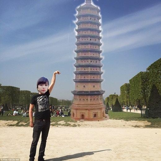 """Cô nàng cùng bảo tháp tại Bái Đính """"được du lịch"""" sang tận nước ngoài.(Ảnh: Internet)"""