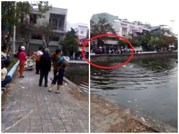 Nhiều người đứng trên bờ theo dõi,bình luận chứ nhất quyết không tìm cách cứu nạn nhân. Ảnh: Cắt từ clip