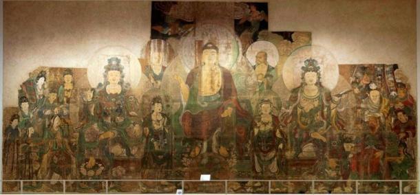 Bức tranh về nội cung của Phật Di Lặc của hai họa sĩZhu Haogu và Zhang Boyuan, vẽ năm 1320. (Ảnh: Wikimedia Commons).