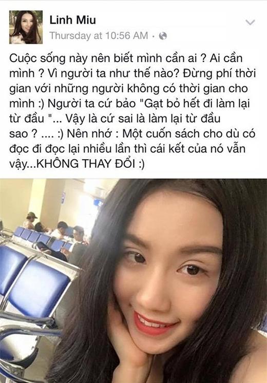 Linh Miu có vẻ khá chán nản, tuyệt vọng với một vấn đề gì đó trong cuộc sống mà cư dân mạng đồ rằng liên quan đến chuyện tình cảm và những chia sẻ trước đó. (Ảnh: Facebook)
