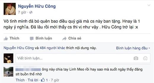 Thậm chí còn có một người hâm mộ nói thẳng lên nghi vấn của mình dưới một dòng tâm trạng buồn vu vơ của Hữu Công. (Ảnh: Facebook)
