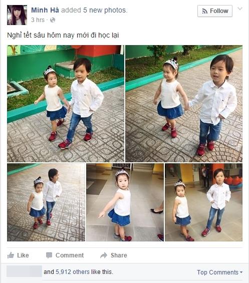 """Người đẹp Minh Hà đã chia sẻ bức hình con trai và con gái lớn cùng dòng chú thích: """"Nghỉ Tết sâu hôm nay mới đi học lại"""". - Tin sao Viet - Tin tuc sao Viet - Scandal sao Viet - Tin tuc cua Sao - Tin cua Sao"""