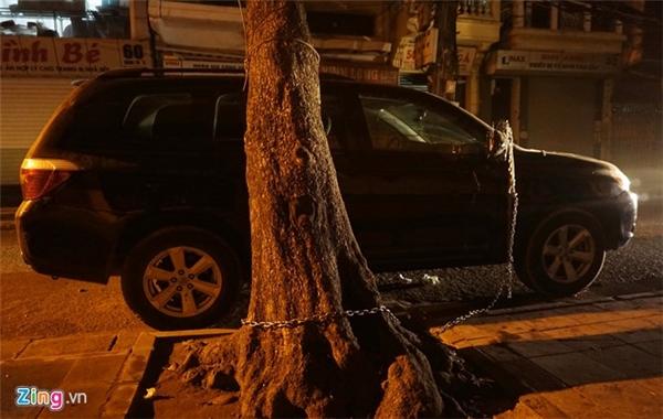 Đầu dây cáp được chủ xe móc tiếp vào xích sắt, cột cố định vào gốc cây bàng trước cửa nhà.