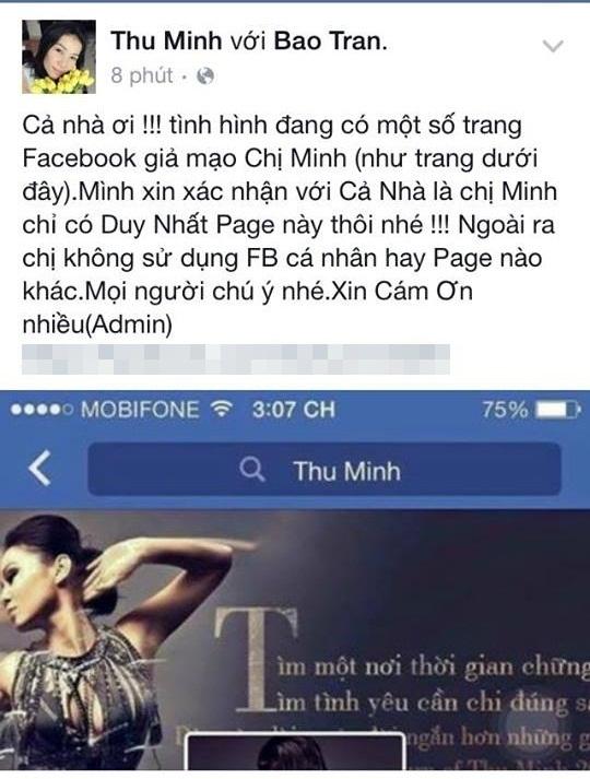 Dòng thông báo từ người quản lí fanpage Thu Minh có đính kèm cả đường link dẫn đến tài khoản giả mạo. - Tin sao Viet - Tin tuc sao Viet - Scandal sao Viet - Tin tuc cua Sao - Tin cua Sao
