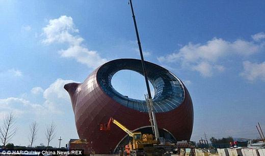 """Ấm trà"""" khổng lồ - một phần của dự án Thành phố du lịch văn hóa Wuxi Wanda ở phía đông Trung Quốc. (Ảnh: Internet)"""