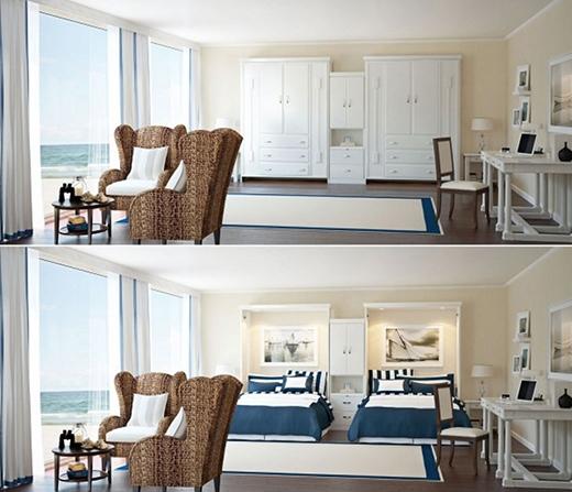 """Hai chiếc giường xếp được """"ngụy trang"""" thành hai chiếc tủ quần áo sẽ giúp tiết kiệm không gian cho căn nhà thiếu phòng của bạn. (Ảnh: Internet)"""