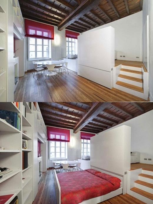 Bạn có thể thấy gian bếp được nâng cao lên với mục đích giấu một chiếc giường bên dưới. (Ảnh: Internet)