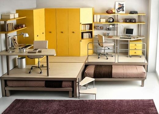Một thiết kế giấu giường bên dưới khác trong khá hiện đại và bắt mắt. (Ảnh: Internet)