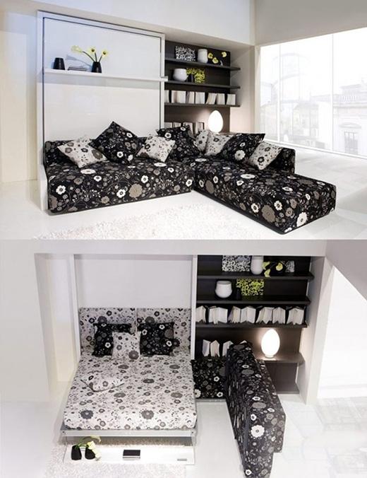 Đây cũng là một thiết kế giấu giường sau tràng kỷ. Tuy nhiên chiếc tràng kỷ này có thể được xếp lại gọn ghẽ và gối đệm của ghế được dùng luôn cho bên giường ngủ. (Ảnh: Internet)