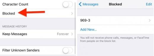 Chặn tin nhắn của số trong danh bạ: Settings -> Messages -> Blocked -> nhập số điện thoại liên lạc để ngăn chặn số này nhắn tin, gọi điện hoặc Facetime (Ảnh: wonderfulengineering)