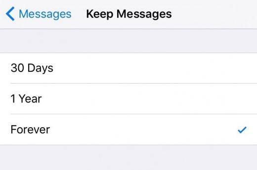 Xóa các tin nhắn cũ để giải phóng dung lượng: Settings -> Messages -> Keep Messages và bấm chọn thời gian tin nhắn được tự động xóa (Ảnh: wonderfulengineering)