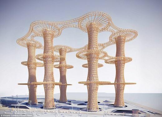 Kiến trúc của nó đa phầnbằng gỗ. (Ảnh:Vincent Callebaut)