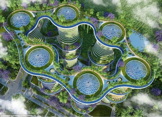 """Toàn cảnh """"ngôi nhà của tương lai"""". (Ảnh:Vincent Callebaut)"""