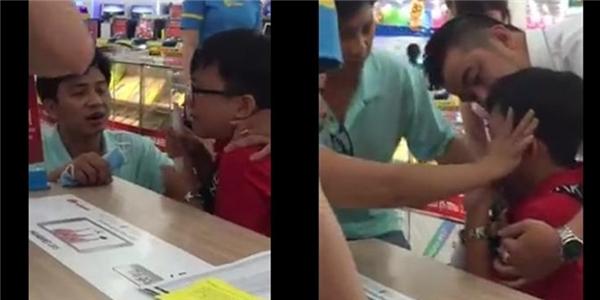 Hình ảnh cậu bé hoảng sợ trong clip. (Ảnh: Cắt clip)