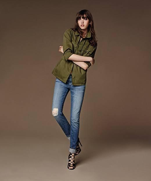 BAXTER – quần jeans lưng thấp ống đứng ôm.
