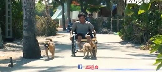 Anh Bùi Văn Huệbị liệt chân vì tai nạn trên biển, phải ngồi xe lăn.(Ảnh: VTC)
