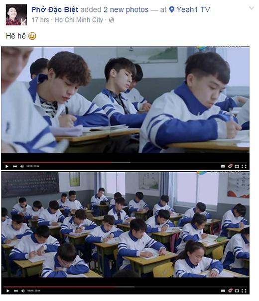 """Hình ảnh trên trang của Phở chụp lại cảnh trong giờ học của phim """"Thượng Ẩn"""". (Ảnh: Facebook)"""